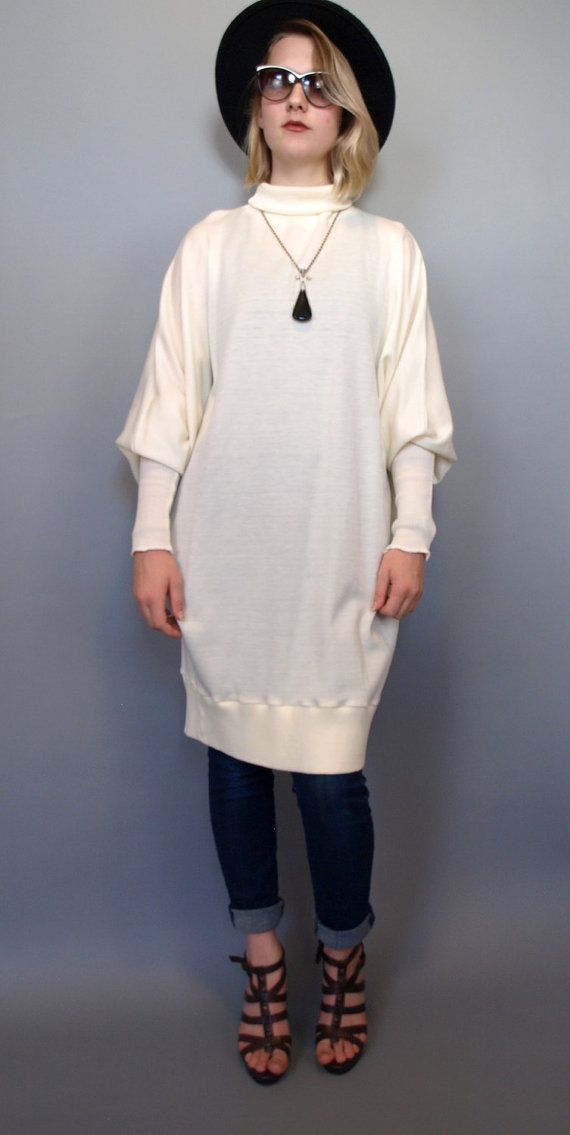 Oversized vintage white sweater dress has a turtleneck top and awesome  mutton chop sleeves! Fabric feels like stretchy acrylic or polyester knit. 562dd3851