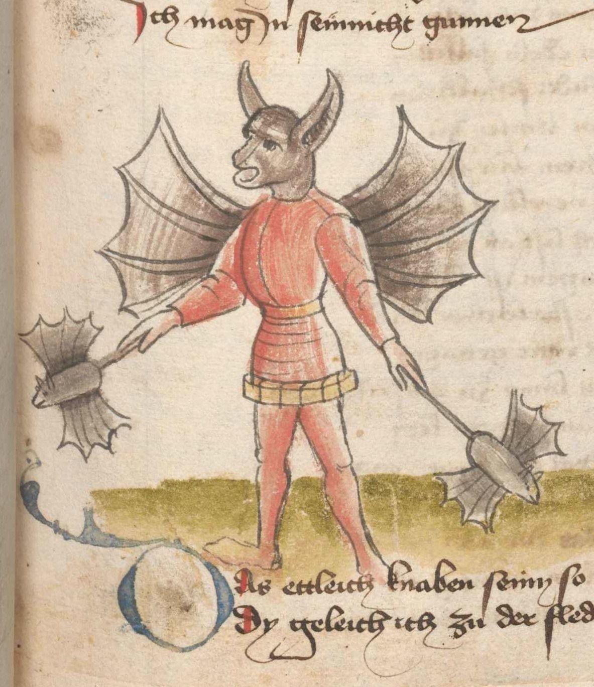 15th century batman Hans Vintler,Die pluemen der tugent, Vienna 1450. Wien, Österreichische Nationalbibliothek, cod. s. n. 12819, fol. 129r
