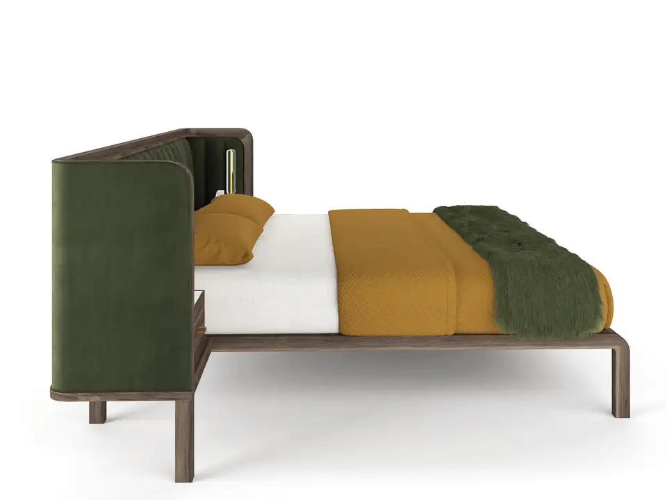 Cupid Bed in Black American Walnut and Velvet with
