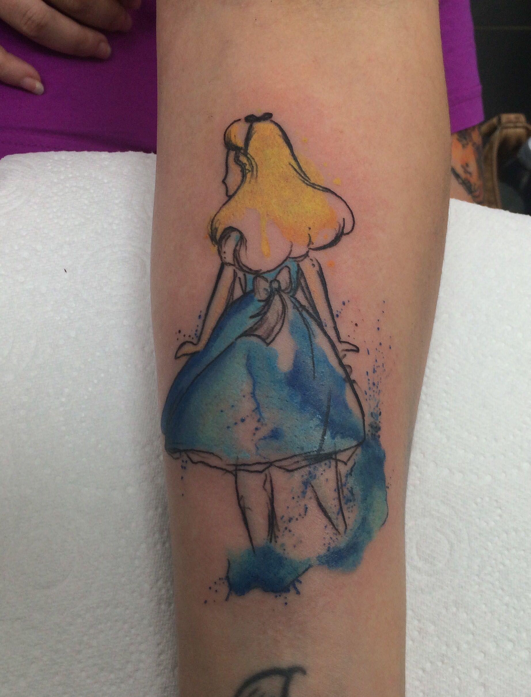 Watercolor Alice In Wonderland Tattoo Google Search Wonderland