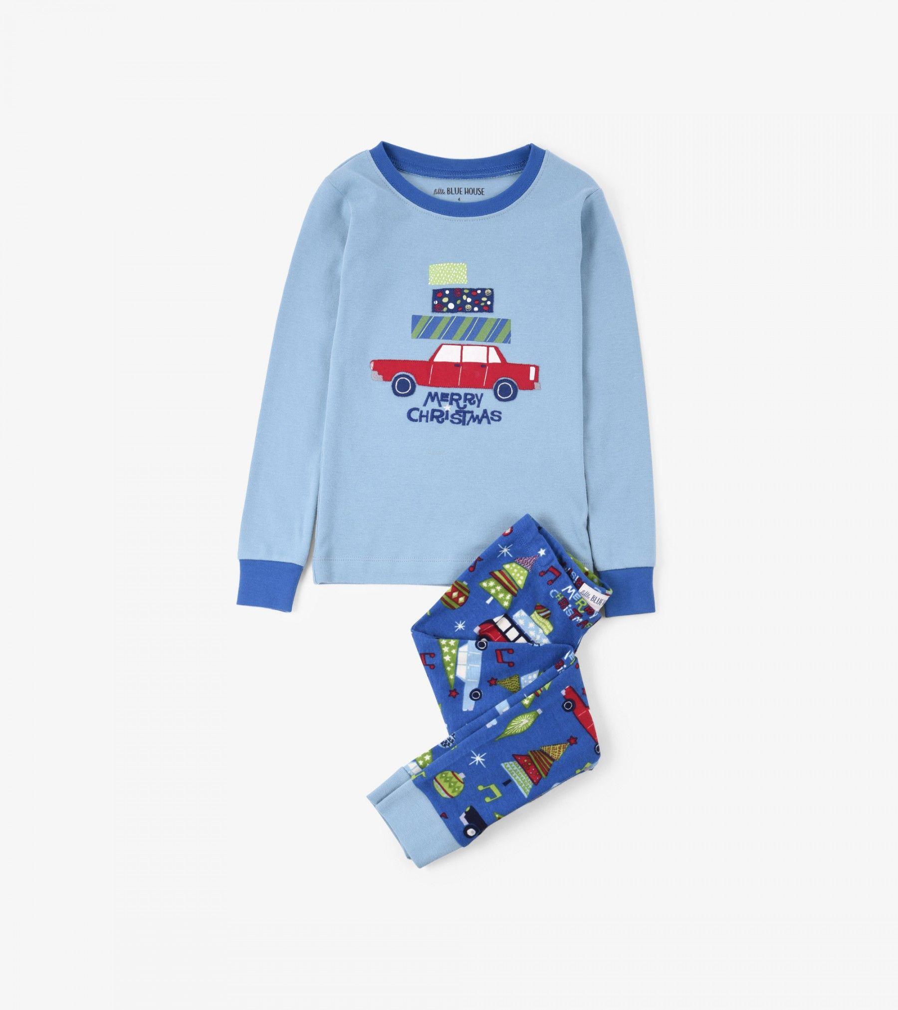 Retro Festive Blue Kids' Pajama Set Little Blue House by