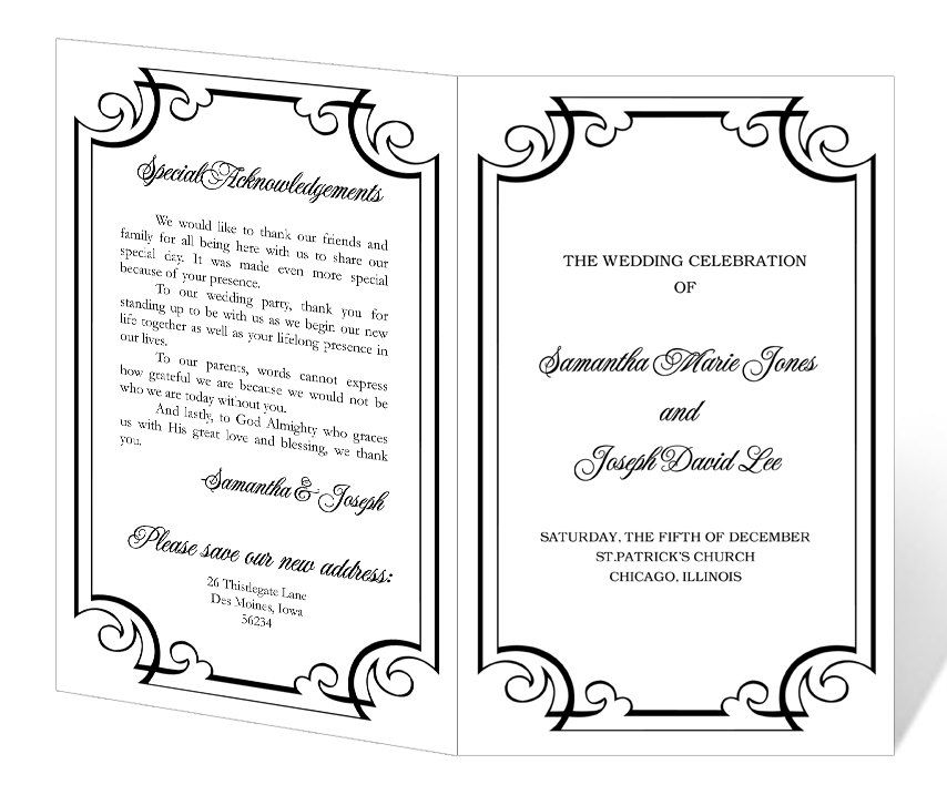 Wedding Program Template Printable - INSTANT DOWNLOAD - Calligraphy - how to design wedding program template