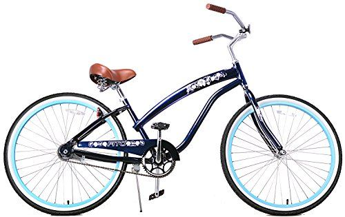 "Vintage Fashion and Lifestyle Anti-Rust Aluminum frame, Fito Modena II Alloy Single 1-speed - Midnight Blue, women's 26"" Beach Cruiser Bike Bicycle"