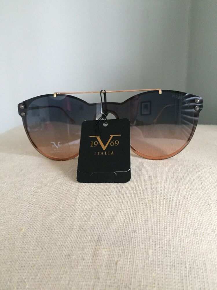 b21303fa67bc 19V69 Italia Versace 1969 GDBL Elisa Gold Rimless Cat Eye Sunglasses NWT |  eBay