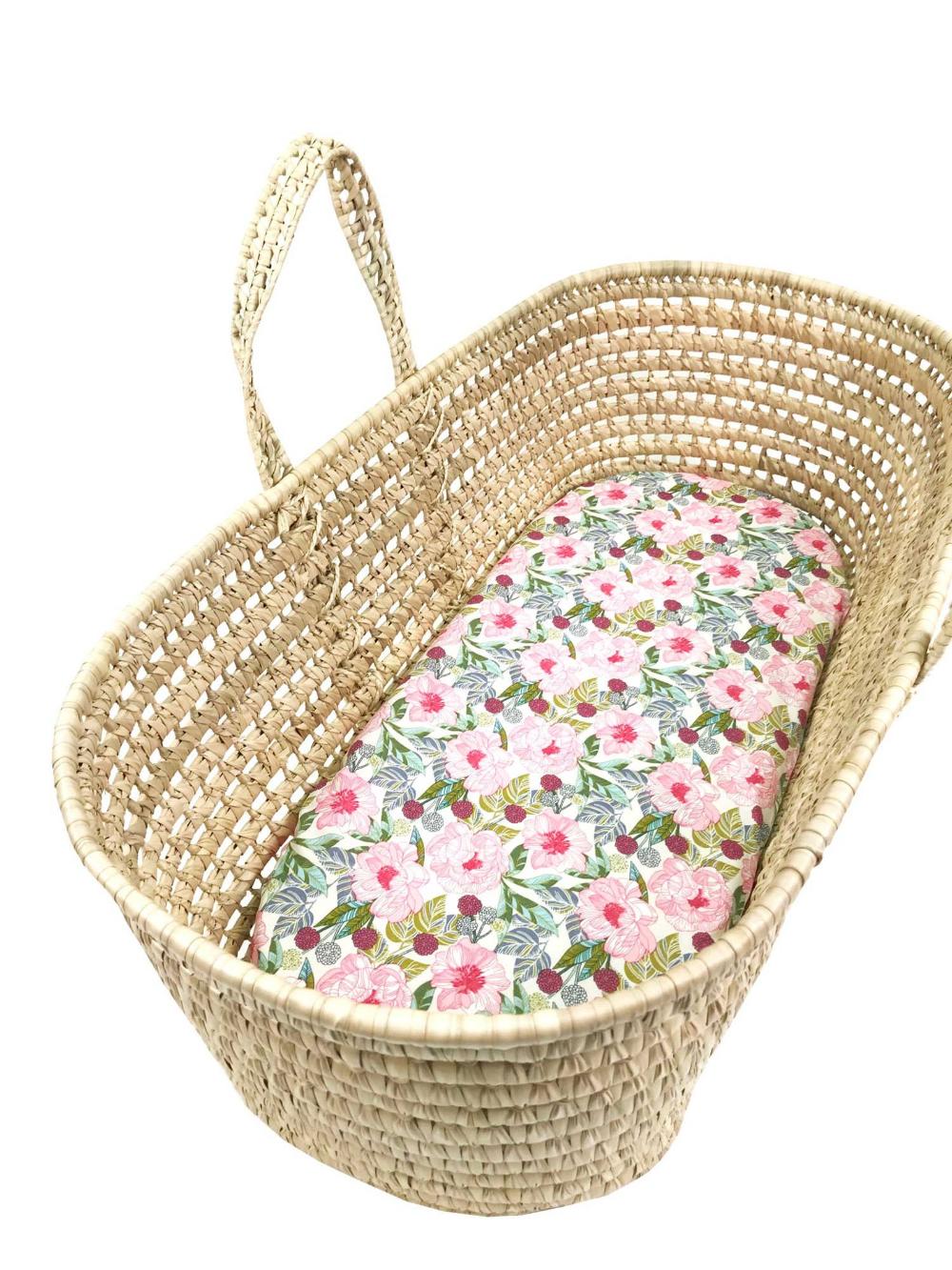 Pink and Green Large Floral Fitted Sheet Moses Basket  Bassinet  Cradle  Changing Basket