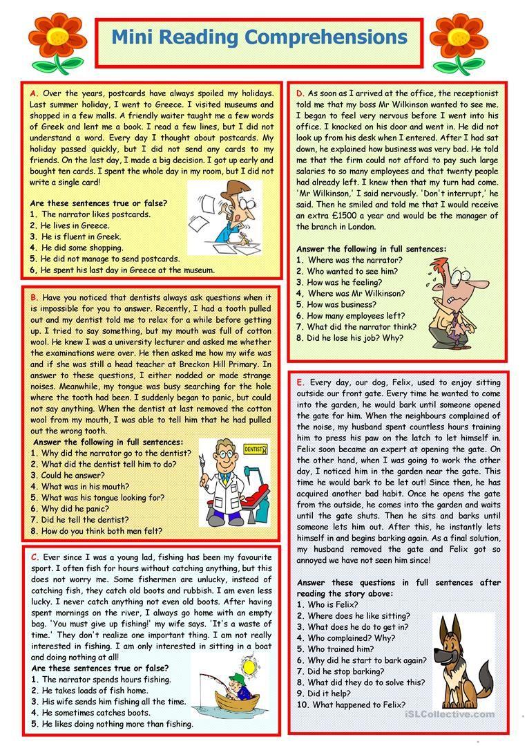 Mini Reading Comprehensions 8 Mini Reading Esl Reading Comprehension Reading Comprehension [ 1079 x 763 Pixel ]