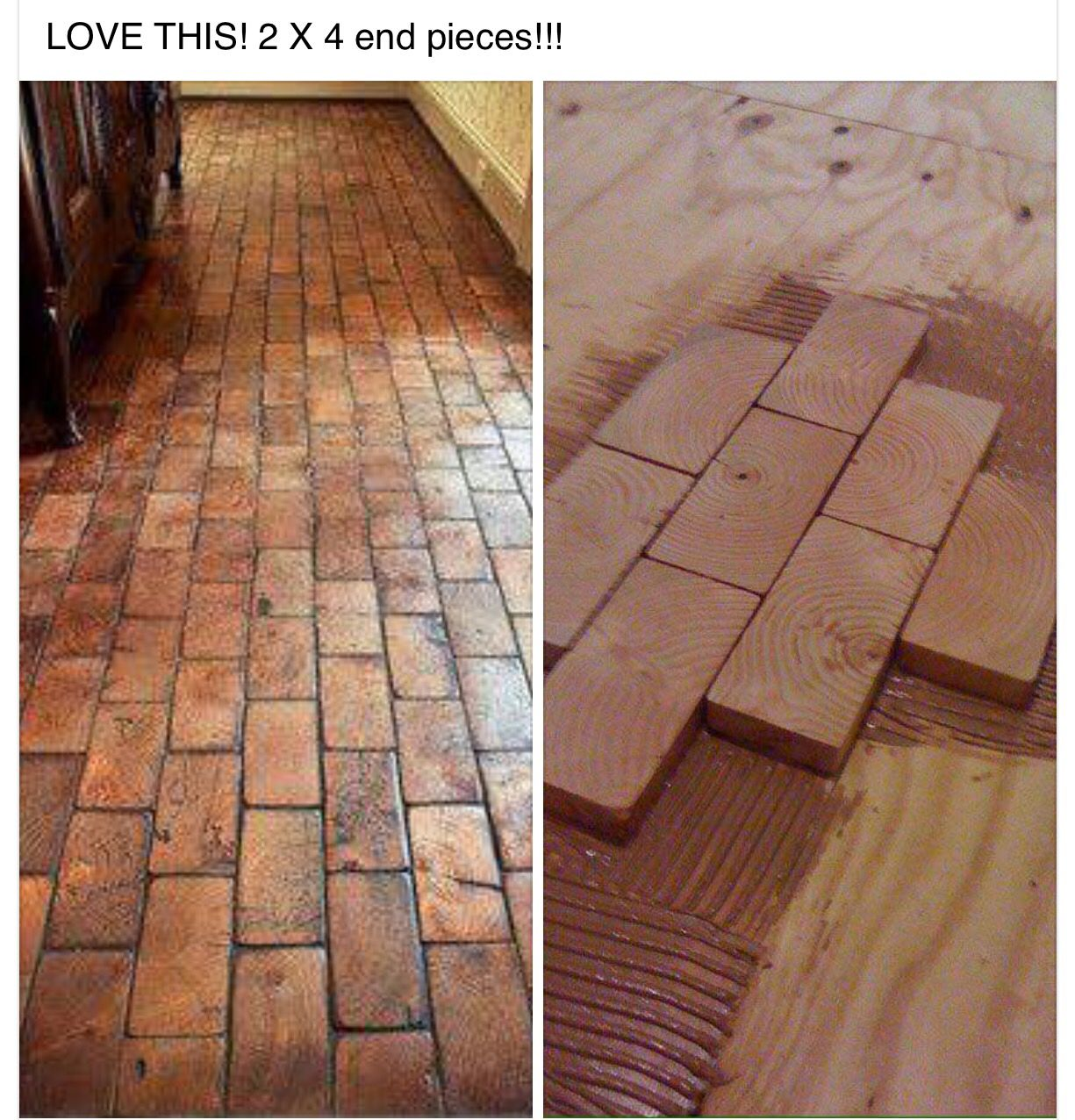 2x4 faux brick floor with wood blocks wooden blocks for fake 2x4 faux brick floor with wood blocks wooden blocks for fake brick flooring awesome diy dailygadgetfo Image collections