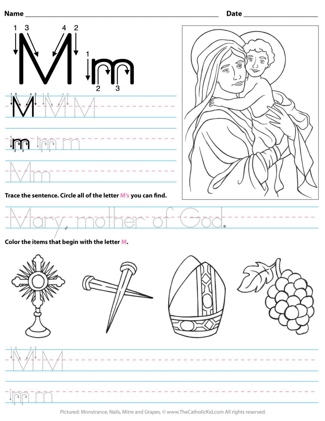 Catholic Alphabet Letter M Worksheet Preschool