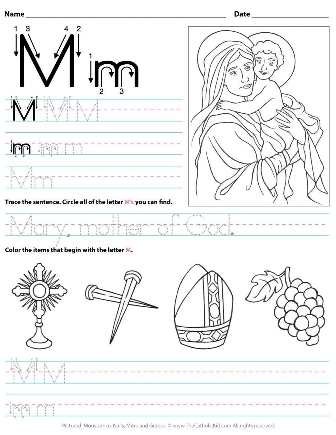 Catholic Alphabet Letter M Worksheet Preschool