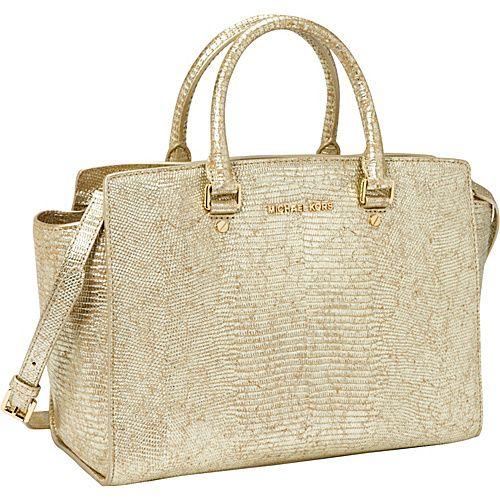 Michael Kors Selma Large Top Zip Metallic Satchel Gold Designer Handbags