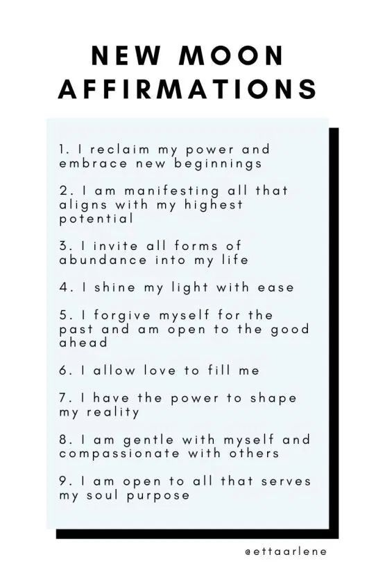Affirmations for The New Moon in 2020 | New moon rituals, New moon, Affirmations