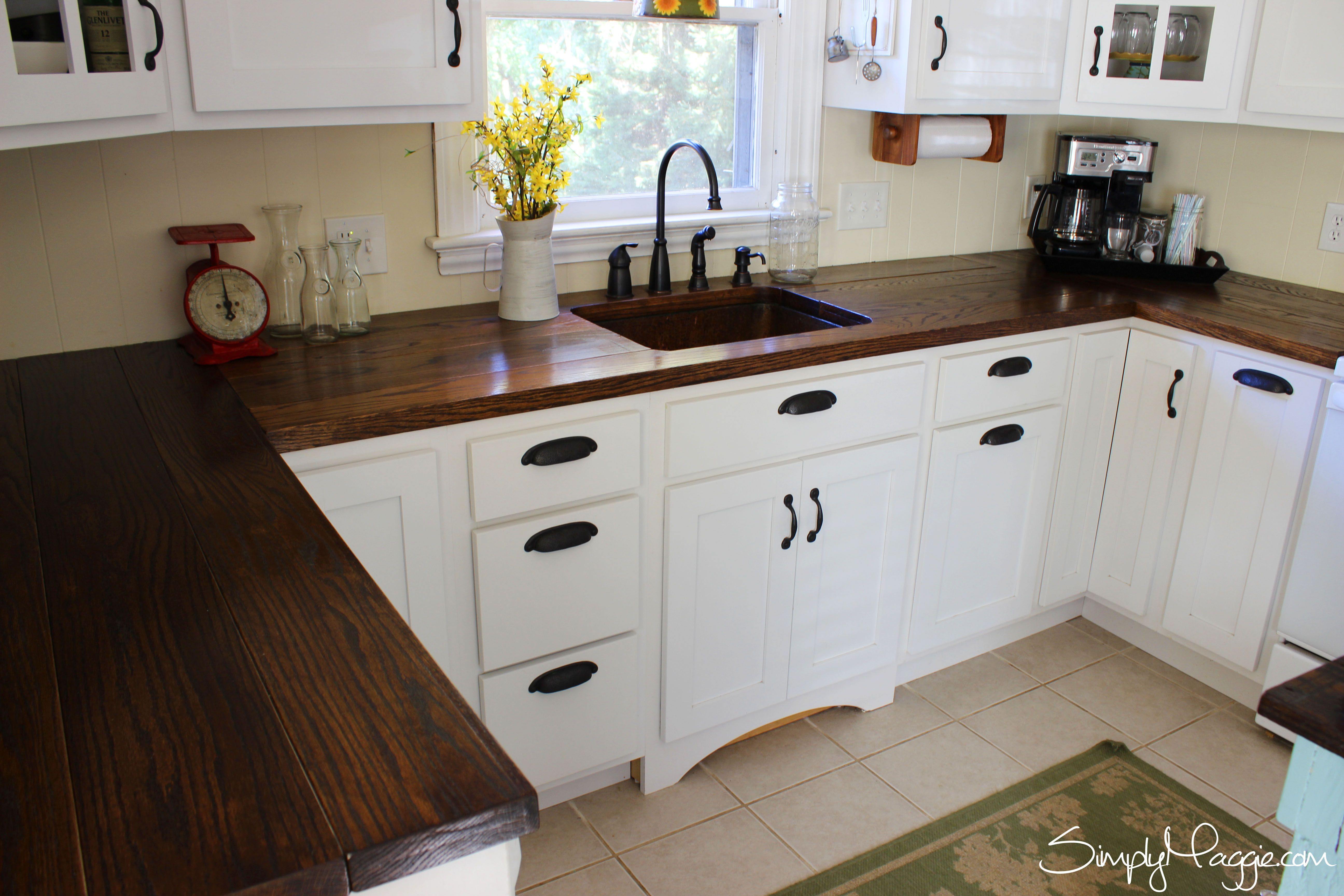 Kitchen Top Cabinet Diy Wide Plank Butcher Block Counter Tops Simplymaggie