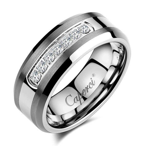 Caperci Men's 8mm CZ Diamond Tungsten Carbide Wedding Band Ring Size 11.5