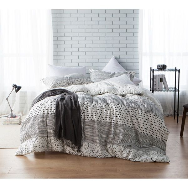 Byb gradient block twin xl size grey stripe comforter shams not included
