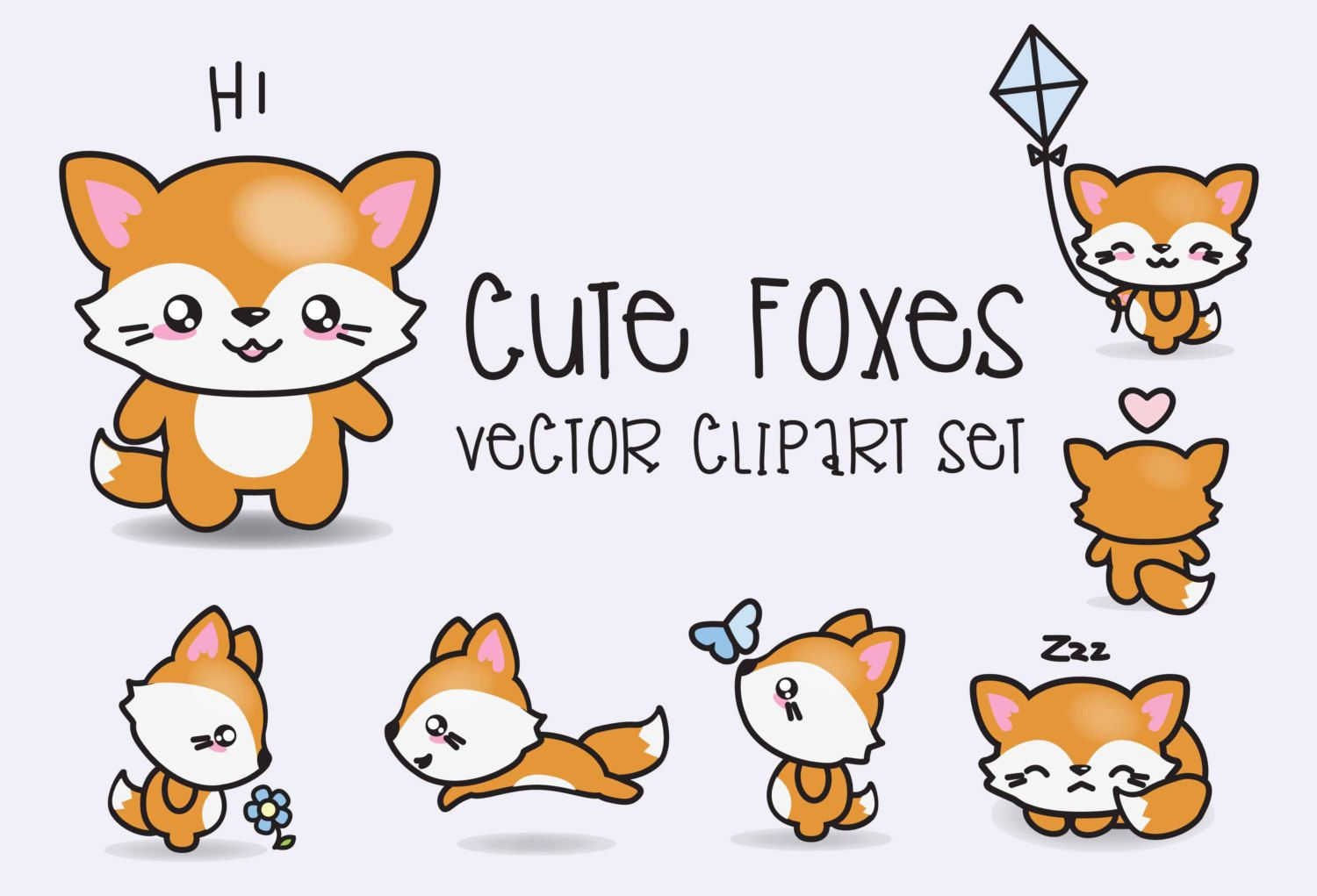Clip Art Kawaii Clipart premium vector clipart kawaii foxes cute set high quality vectors instant download etsy shop