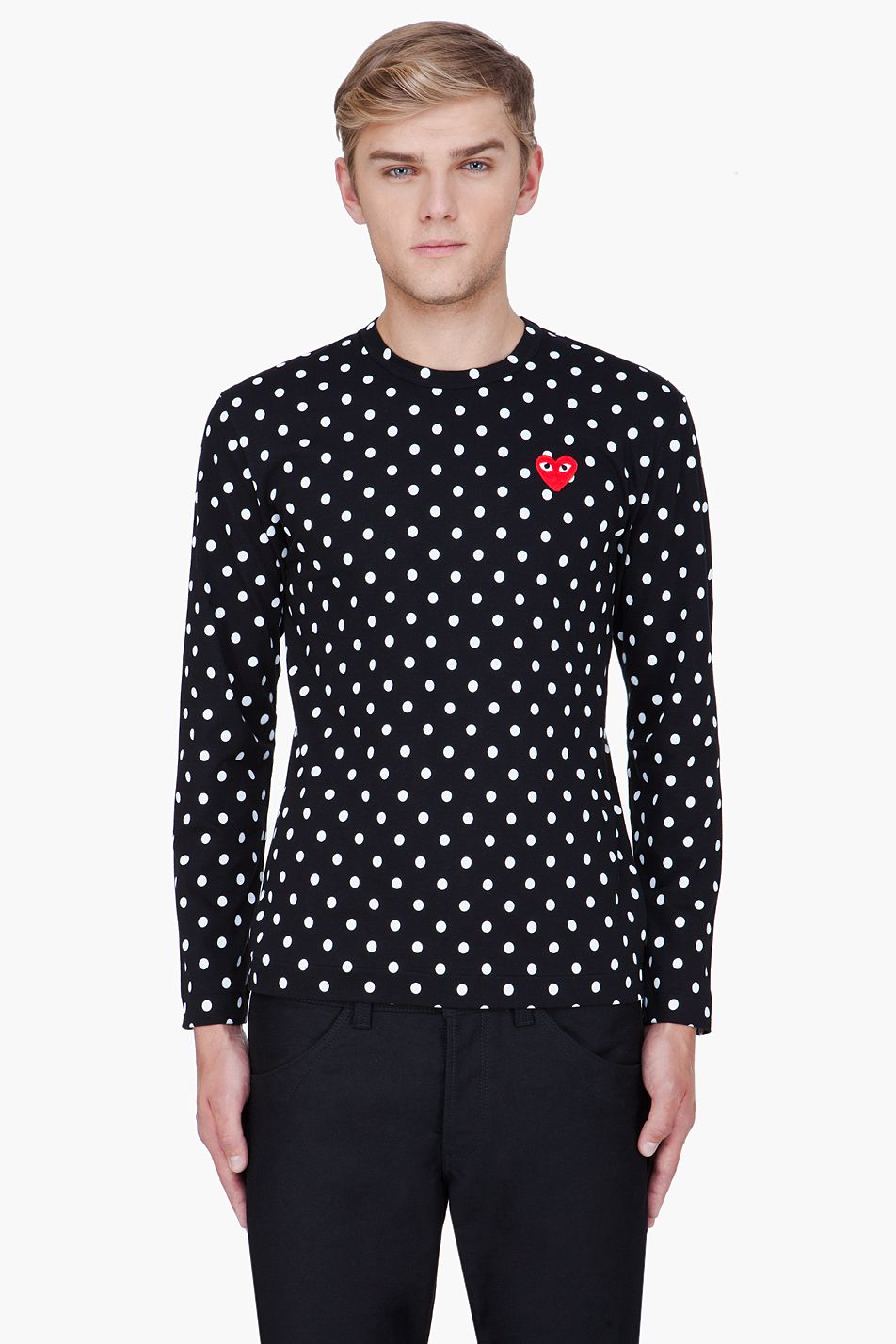 Men's polka dot shirts may be hard to find but they do exist. A vintage store is a great place to start your quest. If you are lucky, they may be at your favorite department store or even in a young men's store.