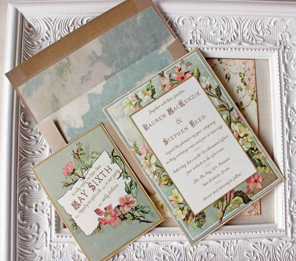 Blush Pink, Mint And Gold Vintage Floral Frame Wedding Invitation