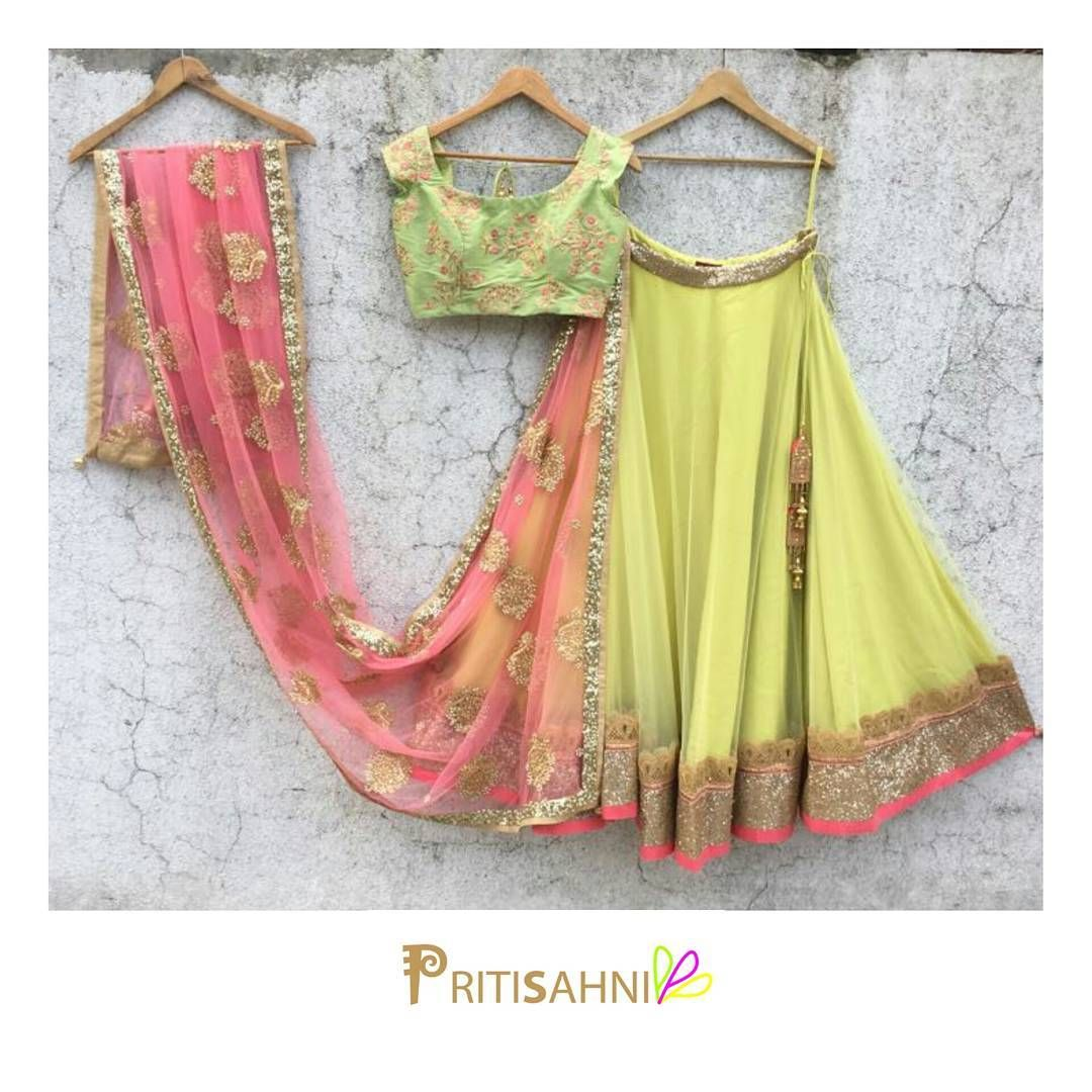 Happy Colours Me Brighten Up The Mood In This Bright Pastel Green And Lemon Yellow Lehenga Set Diwali For More Information DM Or Whatsapp On