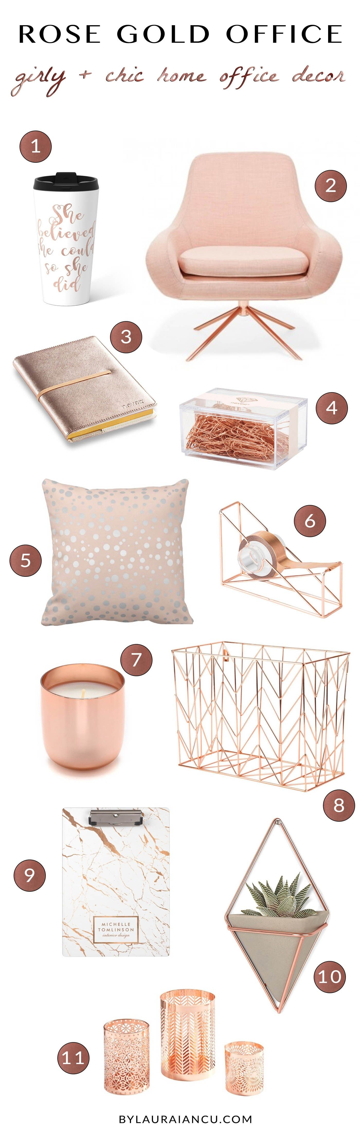 Gold And Rose Gold Desk Accessories And Feminine Office Supplies Home Office Decor Feminine Home Offices Home Office Design