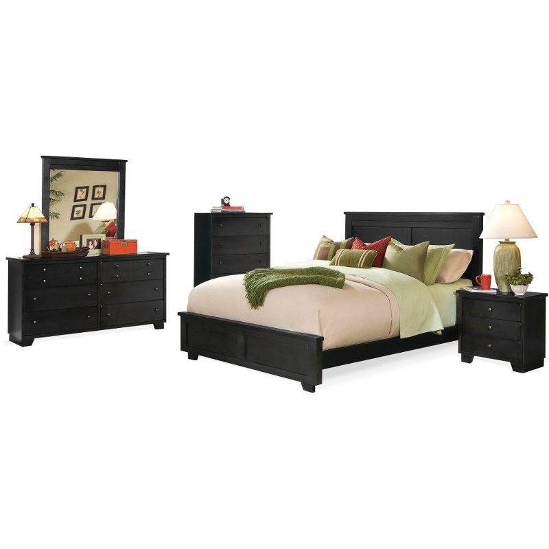 Classic Black 4 Piece California King Bed Bedroom Set Diego