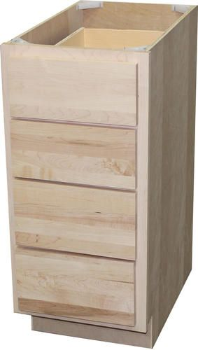 Quality One 18 X 34 1 2 Unfinished Maple 4 Drawer Base Cabinet