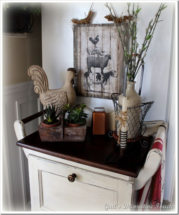 Rooster Kitchen Decor French Country: Clever Artwork Idea For 75 Cents W/tutorial (from Gail's Decorative Touch)
