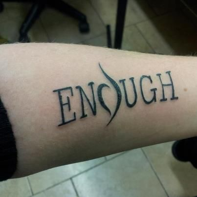 My latest tattoo a reminder that i am enough just the for Eating disorder symbol tattoo