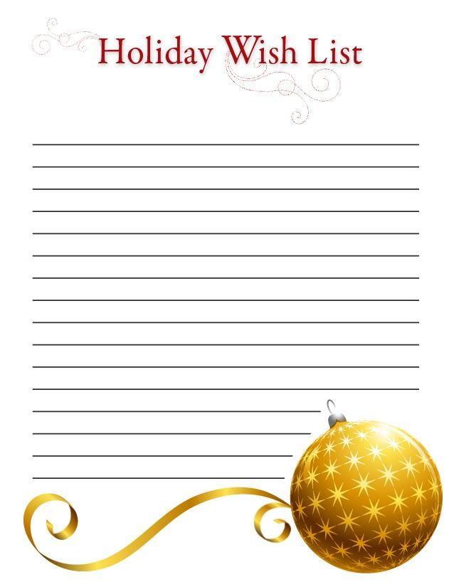 Printable Holiday wish lists Free printable, Ornament and Free