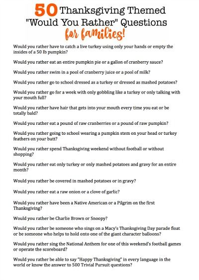 50 Thanksgiving Themed Would You Rather Questions That Are Perfect For The Whole Family Fun Thanksgiving Games Thanksgiving Parties Thanksgiving Family