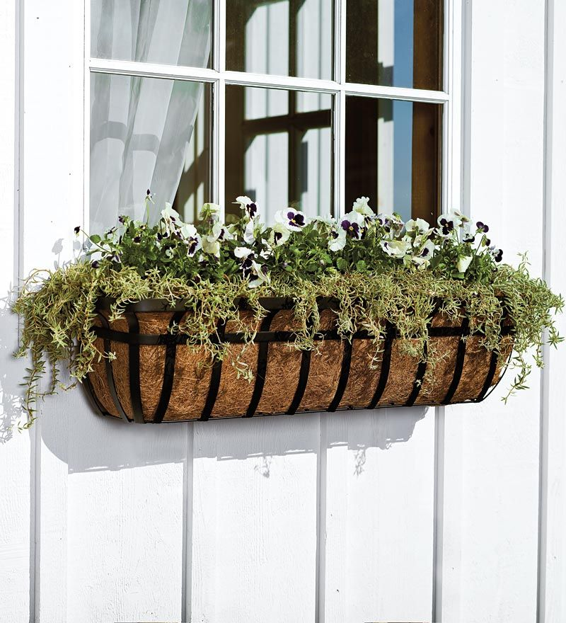 Classic English Hay Basket Planters For Windows Porch Patio Deck And More Gorgeous And Easy Window Planters Deck Planters Metal Window Boxes