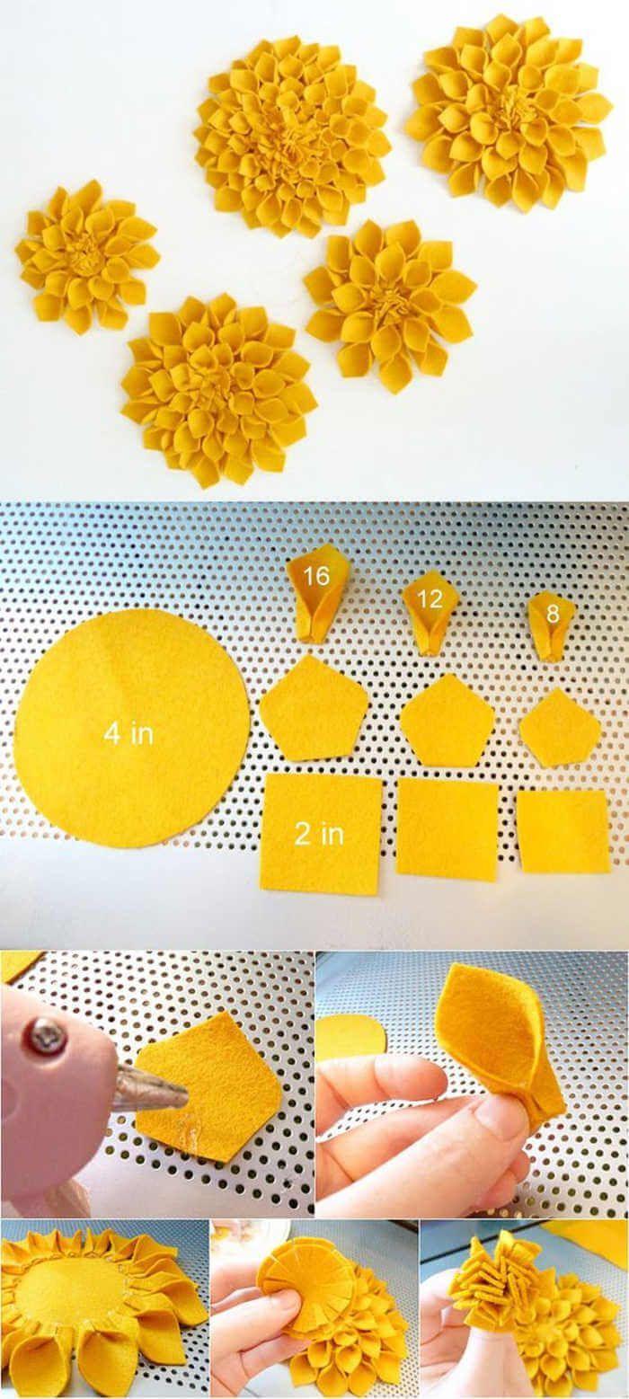 Muster von Filzblumen, die in einfachen Schritten hergestellt werden