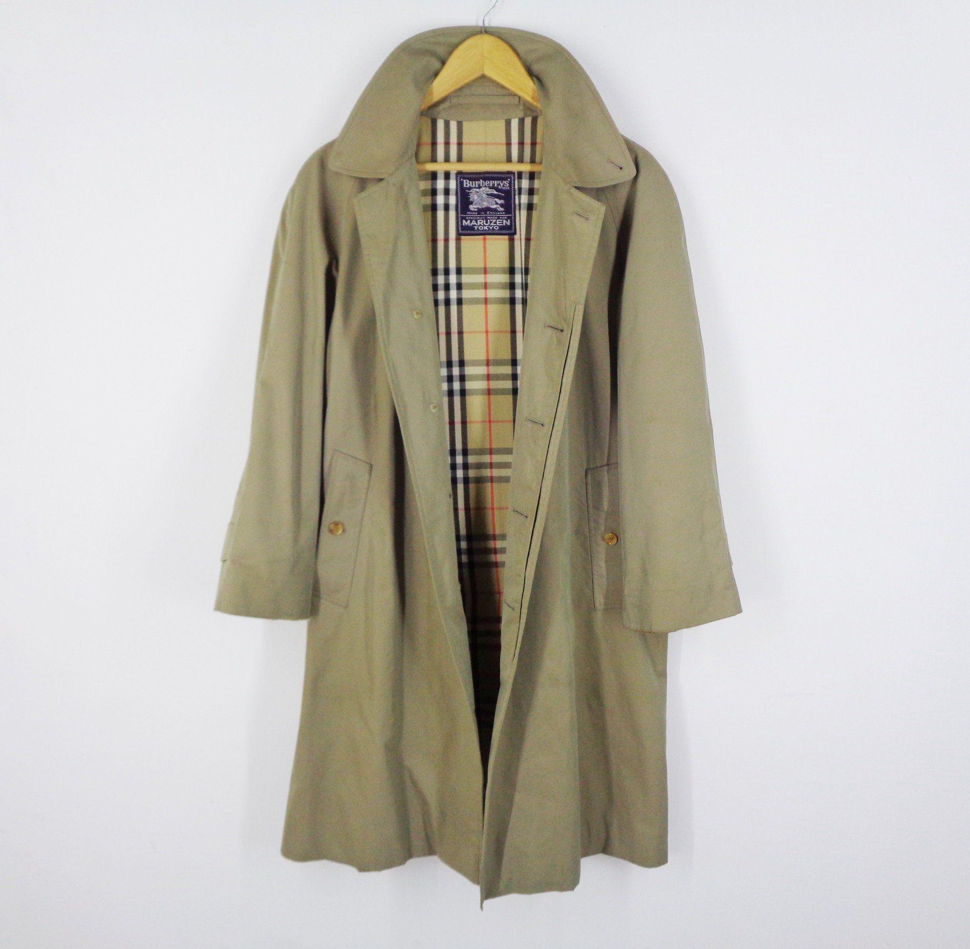 Burberrys Jacket Vintage 90 S Burberrys Specially Made For Maruzen Tokyo Nova Check Trench Coat Burberrys Vintage Made In Engla Coat Vintage Coat Used Clothing