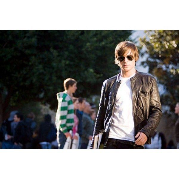 17 Again Zac Efron Men's Black leather Jacket