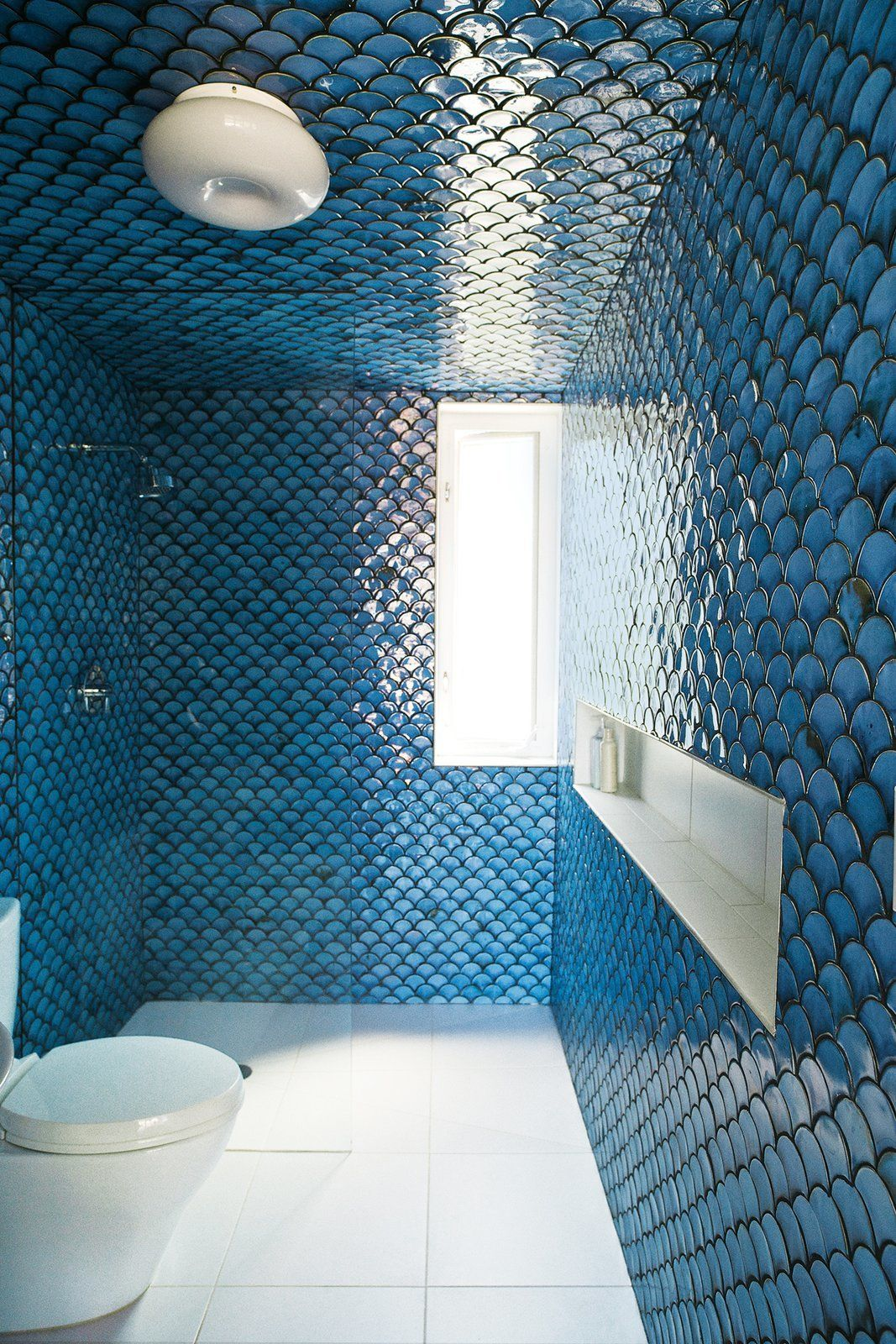 Photo 3 Of 9 In 8 Bold Bathrooms That Don T Back Away From Color Fish Scale Tile Fish Scale Tile Bathroom Tile Bathroom