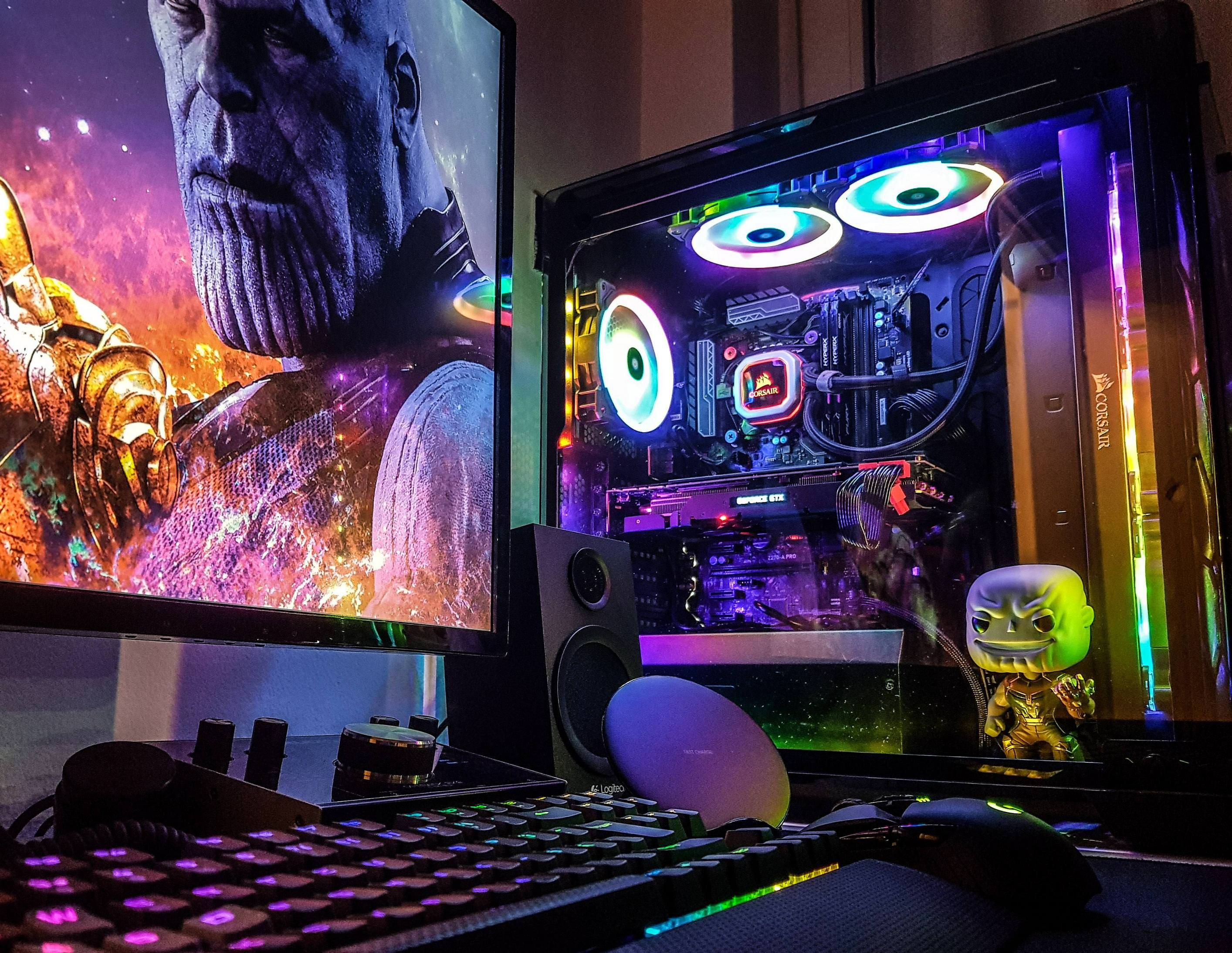 Thanos Computer Setup Extremely Well Done Click For More Pics And Specs Battlestation Battlestations Gami Computer Setup Battlestation Pc Gaming Setup