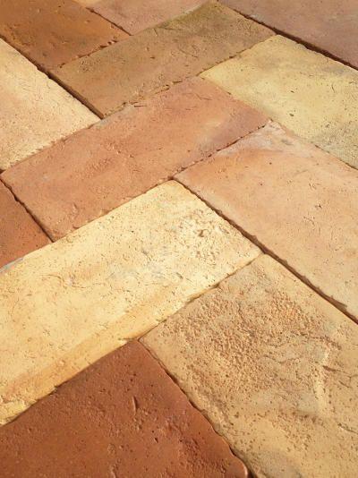 Reclaimed Antique French Terra Cotta Floor Tiles For Sale