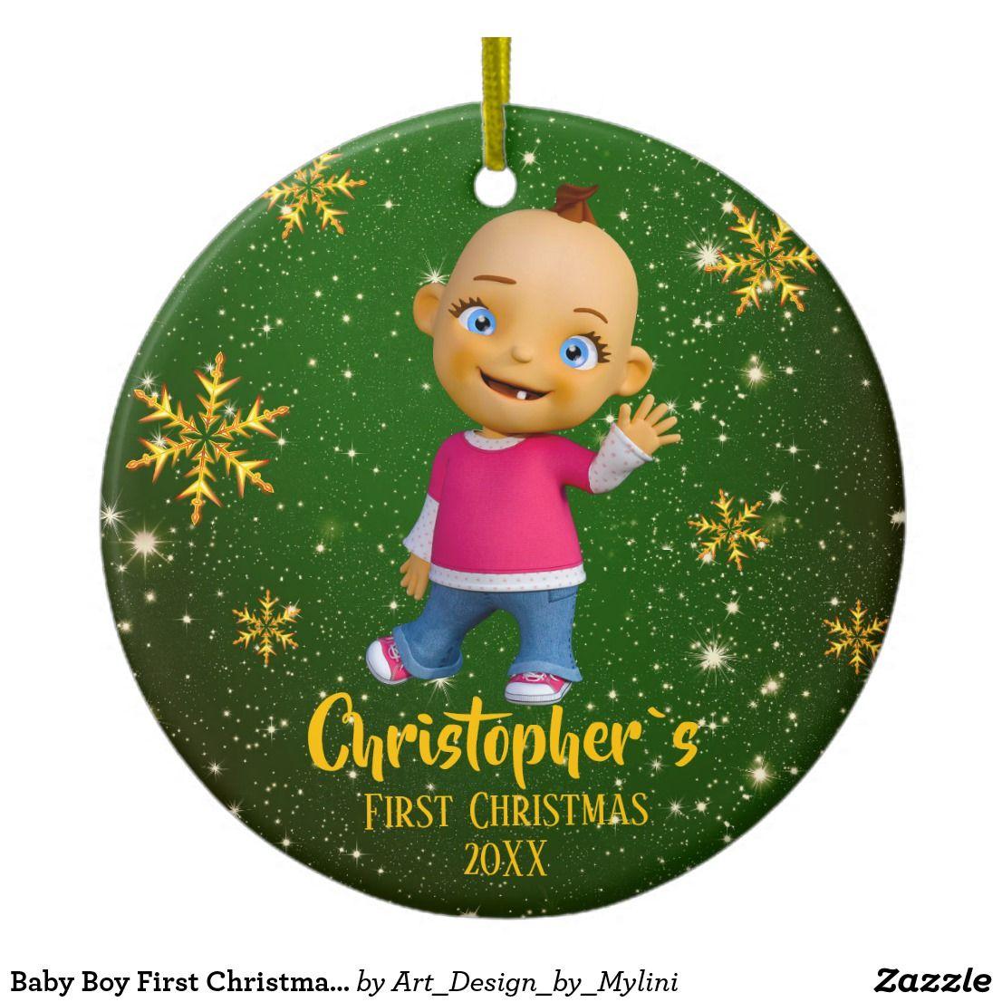 Baby boy first christmas gold glitter green