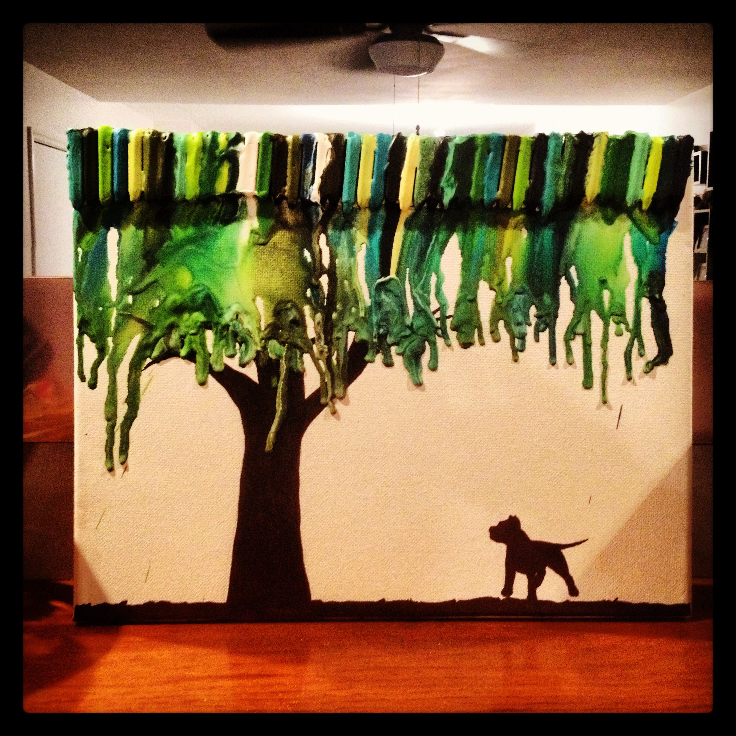 Melted Crayon Tree W Pittie