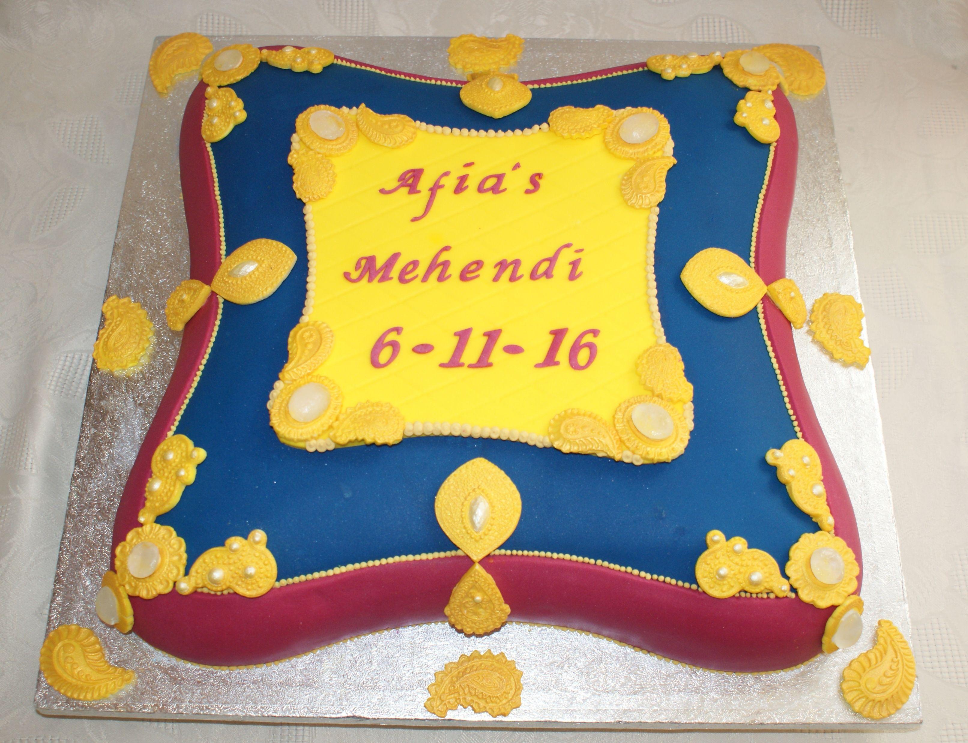 Mehndi Cushion Cake : Cushion shaped mehndi cake with gold brooch detail henna