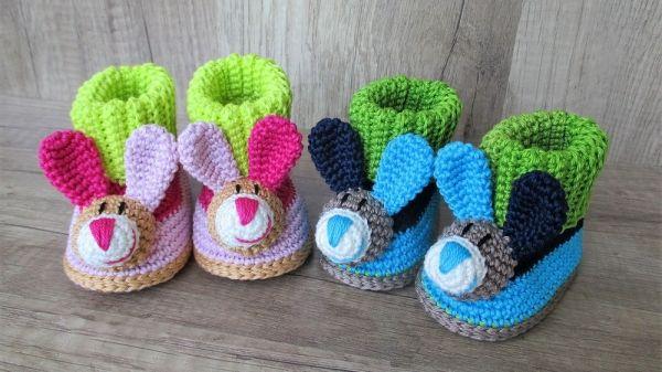 Häkelanleitung Baby-Booties / Babyschuhe Hase - 4 Größen ...