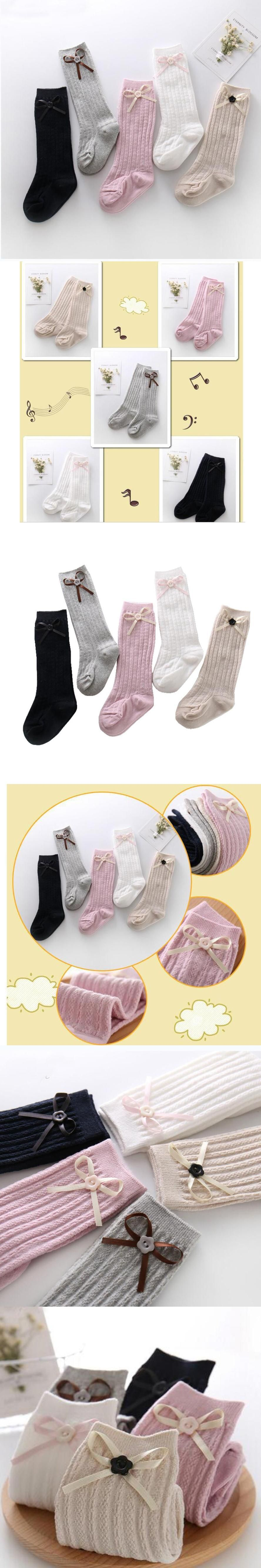 5Colors 5Pairs Knee High Cable Knit Cotton Sock Newborn Baby Girl
