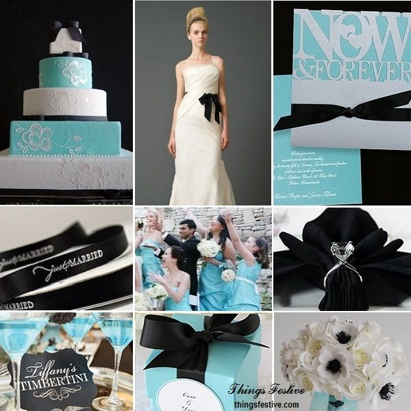 Tiffany Blue Wedding Accented With Black Ribbon Tiffany Blue Wedding Blue Themed Wedding Blue Wedding