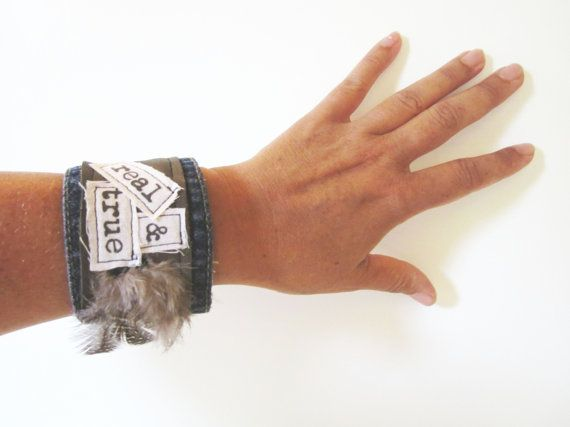 Real & True Denim Cuff  Repurposed Blue Jean Leather by emmevielle, $42.00
