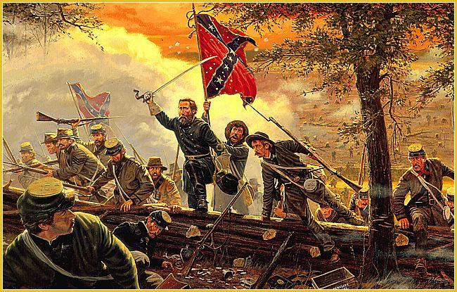 Desperate Valor Brigadier General John Bell Hood Leading The 4th Texas Regiment Through The Union Line At The B Civil War Civil War Confederate Civil War Art