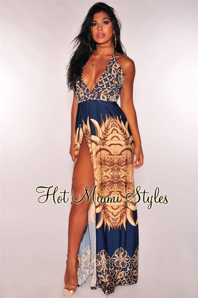 9260267bfa21 Navy Blue Aztec Halter Maxi Dress in 2019 | Sexy | Halter maxi ...