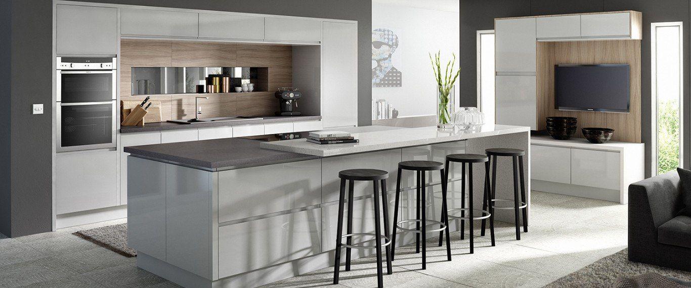 ATLANTIS KITCHENS PROJECT   Kendal   Handleless Gloss Grey Kitchen   Dekton  Worktops   Spekva Wood