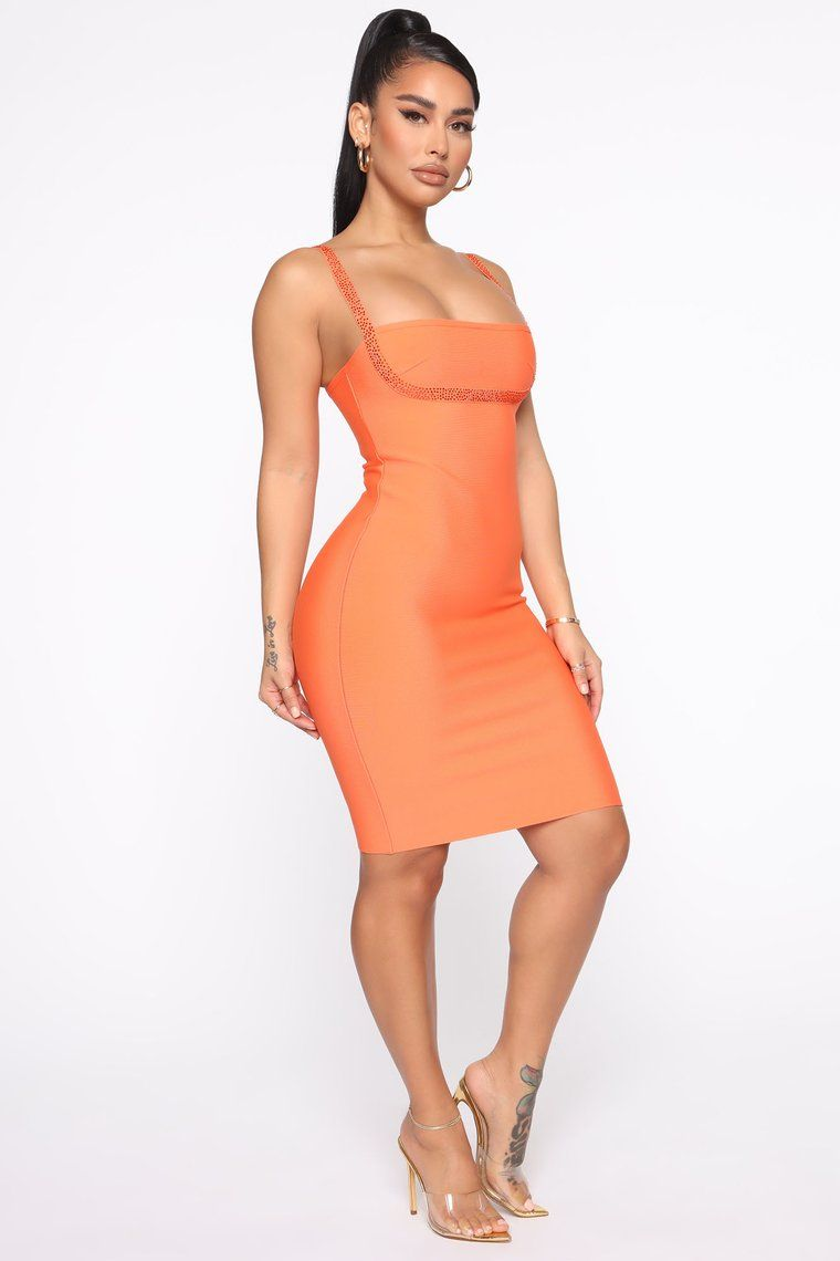 I M A Honey Bandage Mini Dress Orange In 2020 Dresses Mini Dress Orange Fashion [ 1140 x 760 Pixel ]