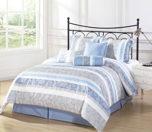 Evans 7pc Jacquard Comforter Set Swirl Pattern Blue Light Blue