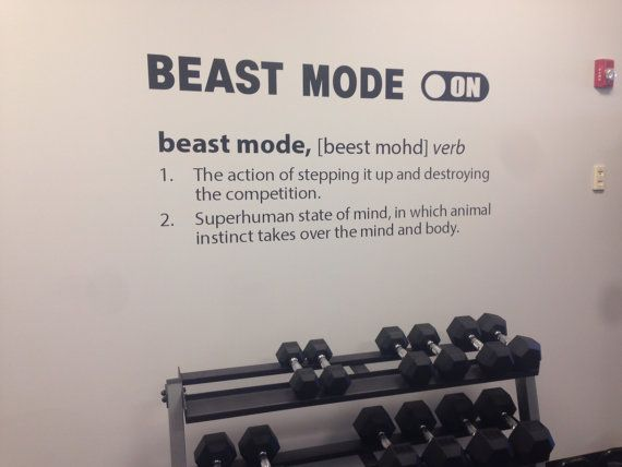 Gym design ideas beasting definition wall decal fitness wall