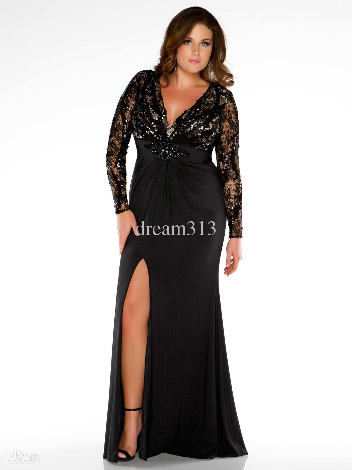 Black long sleeve sheath Plus Size Prom dress v-neck lace/chiffon ...
